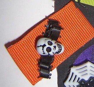 Custom Orange and Black Skull mini bow hair clip