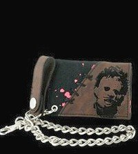 Mens Texas Chainsaw Massacre Leatherface Trifold wallet with chain New Line Cinema House of Horror