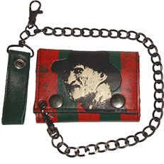 Mens NIghtmare on Elm Street Freddy Krueger Trifold wallet with chain Wes Craven