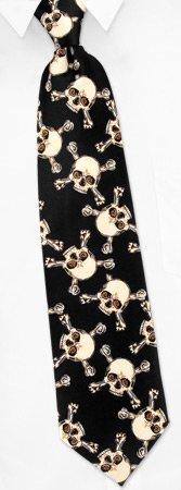 Men's skull and Crossbone Black Neck Tie