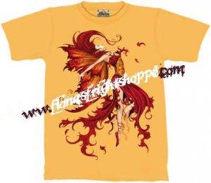 Amy Brown Fire Dance Faery / Fairy Tee - Yellow Size XL