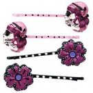 Too Fast Brand Purple Day of the Dead Calavera hair pins