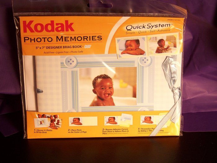 KODAK  It's a Boy! 5 x 7 Photo Memories Quick System Brag or Scrap Book Kit