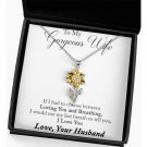 Wife Gift From Husband Sunflower Pendant Necklace Message Card