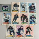 All 11 Hartford Whalers TEAM SET 1995/96 Panini Hockey Sticker Cards