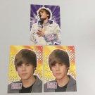 All 3 Justin Bieber 2010 Panini Celebrity Music INSERT Sticker Cards