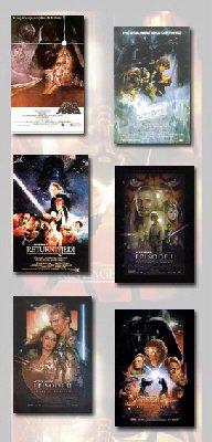 STAR WARS EPISODE I, II, III, IV, V, VI Movie Poster Set