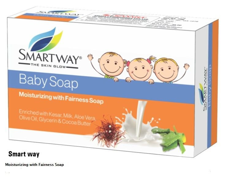 75gm Smarway baby soap Moisturizing with Fairness Enriched with kesar,milk ECT