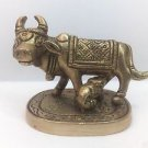 "2"" Brass Kamdhenu Cow & Calf Statue Sculpture Figurine Home Decor Collectibles"