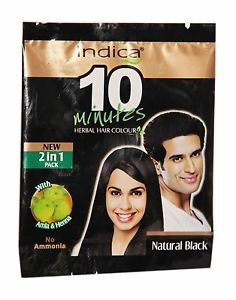 10 Packet Indica 10 Minutes Herbal Hair Color-Natural Black with Amla & Heena