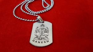 "Ganesh Hindu God tag Necklace Pendant With 22"" Inch Chain Free Shipping"