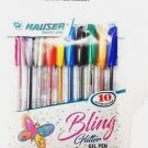 Hauser Bling Glitter Gel Pen  (Pack of 10, Multicoloured) Free Shipping