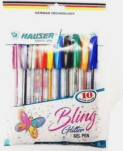 Hauser Bling Glitter Gel Pen  (Pack of 10, Multicoloured) Free Shipping