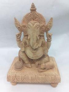 "9"" Wood Ganesha Ganesh Idol Wooden Statue God Elephant Hindu Lord Figurine+Shipp"