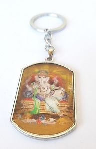 Ganesh ganesha Tag 3D PHOTO Figurine Key Ring Key Chain For luck Free Shipping