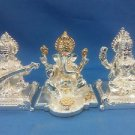 "Set of 3 Silver Plated Lord Ganpati,Laxmi,Saraswati 3""Hindu God Puja Idol"