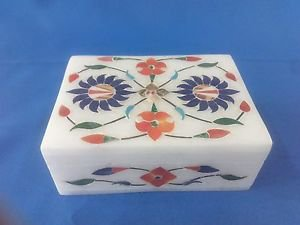 "4""x3x1.5 Marble Jewelry Box handmade White stone art & crafts for gift free Ship"