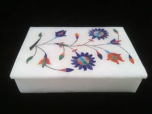"6""x4""x1"" Marble Ring Jewelry Box Floral Design Inlay work Art Free Shipping1"
