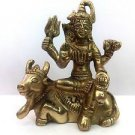 Lord Shiva Seated on His Mount Carrier Nandi - Fine Brass Figurine Statue + Ship