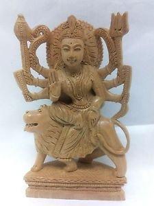 """8"""" Rare Hindu Goddess Maa Durga Statue wooden Maa Mata (Ambe)  Free Shippng $"""