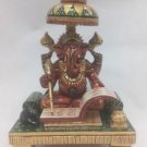 "Hand Painted Beautiful Looking 6"" Idol Lord of Success WoodenGanesh HomeDecor"