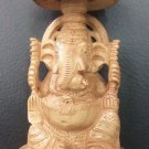 "7"" Wooden GANESH Statue Hand Carved Hindu Elephant God India Lord+Free Shipp"