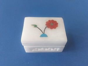 Floral White Marble Jali+ inlay work jewelry box,trinket box Store ring,earrings
