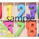 Wooden Number Templates Colorful set of 10 Height of 4 cm inch number 6 pics