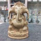"6""Three mukhi Wooden GANESH Statue Hand Carved Hindu Elephant God Religious idol"