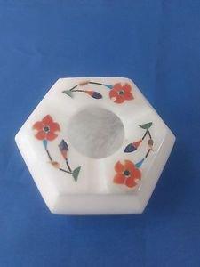 Octagon Marble floral inlay work Ashtray Cigar Cigarette Ash Man Gift Free Shipp