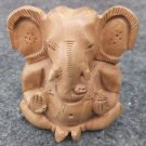 Wooden GANESH Statue Hand Carved Hindu God For Prayer India Brown Lord+SHIPPING1