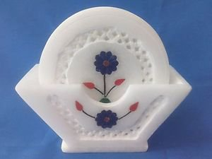 Italian Marble Tea Coffee Coaster 6Pcs Set Inlaid Grill Work Gifts Free Shipping