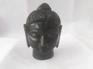 2.5 Black Marble Buddha head statue Handmade white stoneart and crafts homedecor