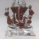 "Good Looking Silver Plated Lord Ganpati 2""Hindu God Puja Idol Ganesh Home Decor"