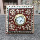 "3"" White Marble Table Watch Jaipur Hand Carfted Floral Art Home Decor Gifts"