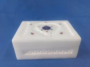 "4""x3x1.5""Italian Marble Jewelry Storage Box Inlay + Heart Jali Work Arts+ Shipp"