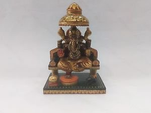 "9 Hand Painted Beautiful Looking 6"" Idol Lord of Success WoodenGanesh HomeDecor"