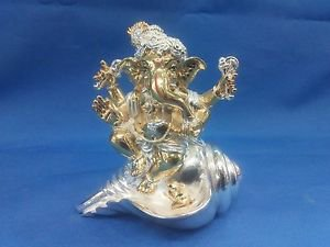 "Awesome Silver Plated Lord Ganpati 4""Hindu God Puja Idol Ganesh Home Decor+Shipp"