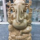 "8"" Wooden GANESH Statue Hand Carved Hindu Elephant God India Brown Lord+SHIPPING"