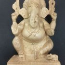 "6"" Wooden GANESH Statue Hand Carved Hindu Elephant God India Brown Lord+SHIPPING"