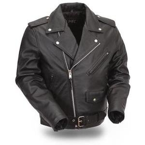 First Classics Men's Lined Black Leather Belted Motorcycle Jacket FMM200BMP