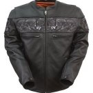 First Manufacturing Men's Sporty Skull Leather Jacket FIM243CSLZ