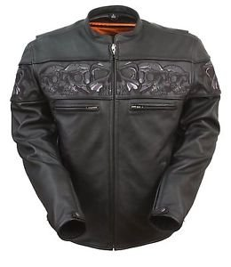 First Manufacturing Men�s Sporty Skull Leather Jacket FIM243CSLZ
