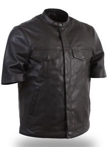 First Classic Half Sleeve Men's Motorcycle Leather Shirt FIM410SDL