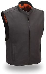 First Classics Men's Leather Zip Front Club Patch Vest FIM656-CSL