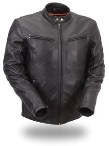 "First Classics ""Apollo"" Men�s Sleek Vented Scooter Leather Jacket FIM257NOCZ"