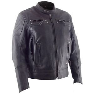 """FMC Mens """"Warrior King"""" Black Leather Vented Scooter Style Jacket, FIM231CLMZ"""