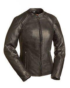 FMC Ladies Black Leather Scooter Motorcycle Jacket Mandarin Collar, FIL106CCBZ