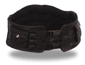 First MFG Men's Black Leather Back Support Belt with Storage Pockets FI2000GL