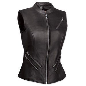 FMC The Fairmont Ladies Black Leather Motorcycle Vest Zip Pocket, FIL512NOC